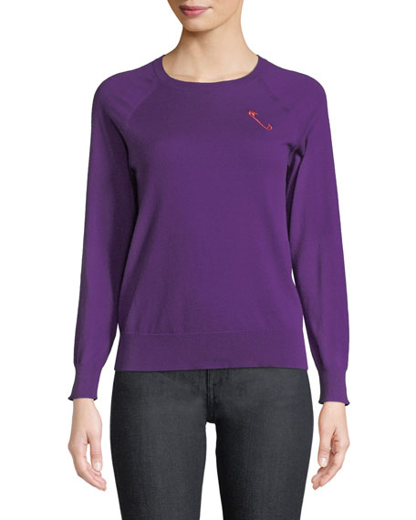 REPLICA LOS ANGELES Safety-Pin Crewneck Raglan Cashmere-Cotton Pullover in Purple