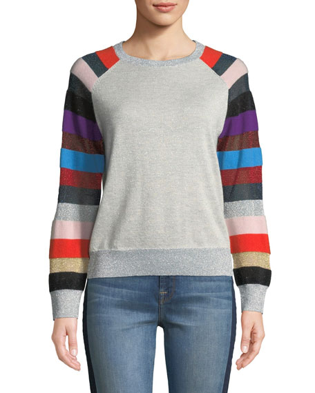 REPLICA LOS ANGELES Metallic Cashmere Sweater With Multi-Stripe Sleeves in Gray