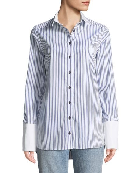 MONOGRAPHIE Striped Button-Front Cotton Shirt in Blue/White