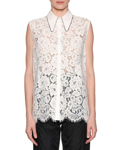 Collared Button-Front Lace Tank