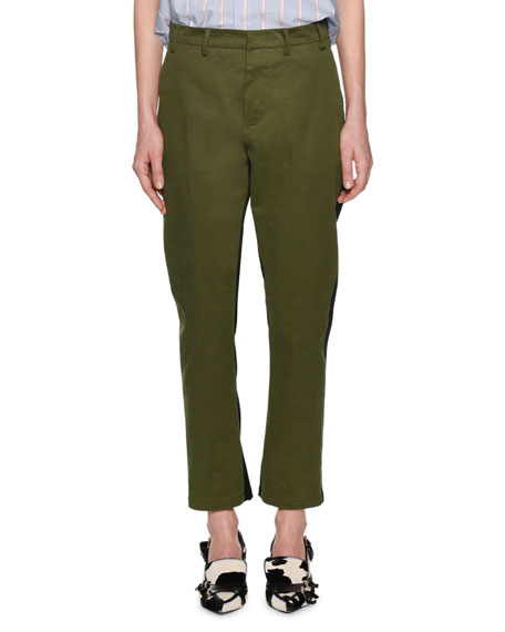 Salvia Straight-Leg Ankle Pants with Stripes