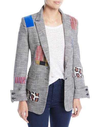 Paulene Patchwork French-Cuff Check Blazer