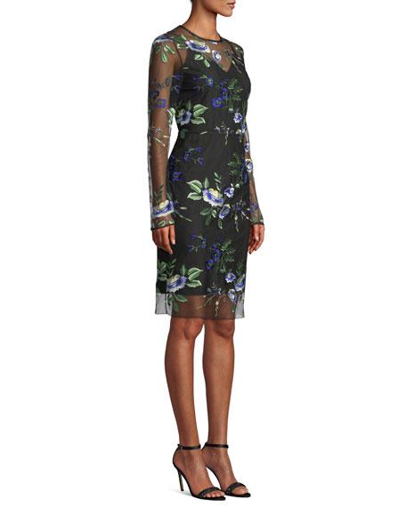ae9b1a3ef2a8d Diane von Furstenberg Floral-Embroidered Mesh Long-Sleeve Cocktail Dress