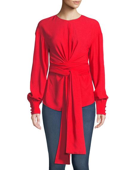 Diane von Furstenberg Long-Sleeve Crepe Wrap Blouse