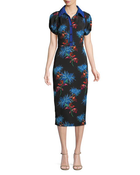 Elly Floral Short-Sleeve Midi Polo Dress in Black Print