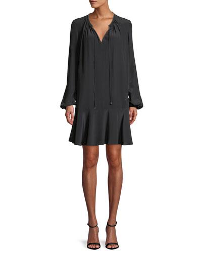 Cinched-Sleeve Silk Keyhole Flounce Dress