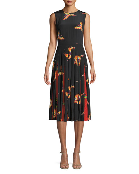 Talita Pleated Printed Silk Crepe De Chine Dress, Black