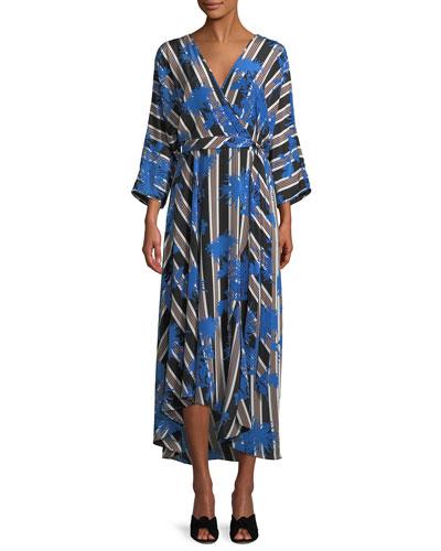 Eloise Striped Asymmetric Midi Wrap Dress