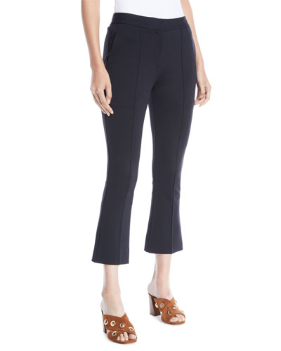 Mid-Rise Cropped Boot-Cut Pants