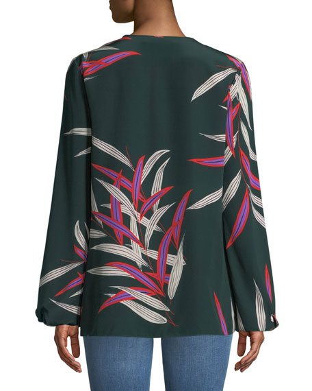 39b2483a99c2a9 Diane von Furstenberg Silk Bird-Print Long-Sleeve Blouse