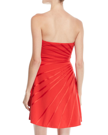 Strapless Mini Dress w/ Satin Strip Appliqué