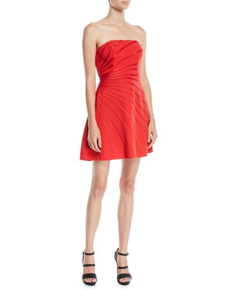 Woman Strapless Satin-Trimmed Crepe Mini Dress Tomato Red