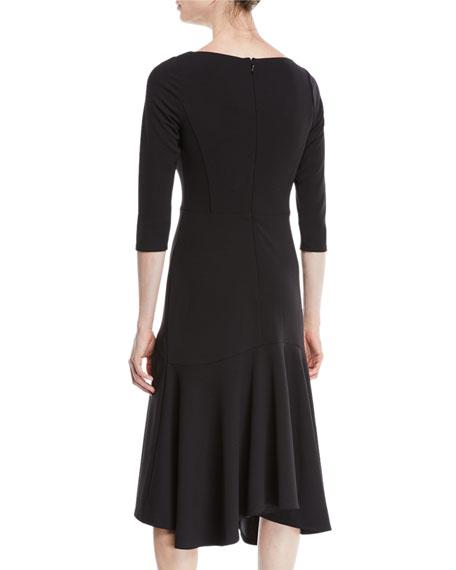 V-Neck Midi Dress w/ Flounce Skirt