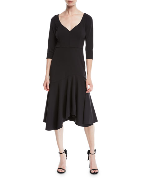 Halston Heritage V-Neck Midi Dress w/ Flounce Skirt