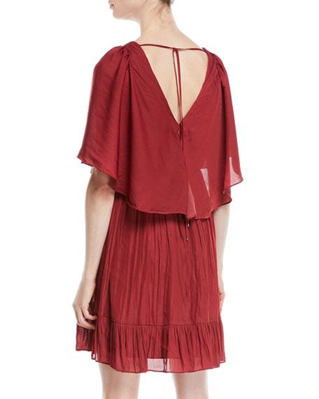 Flowy Mini Dress w/ Capelet & Pleating
