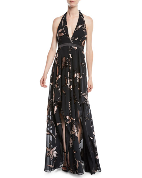Floral Burnout Gown W/ Double-Slit Front, Black/Pink