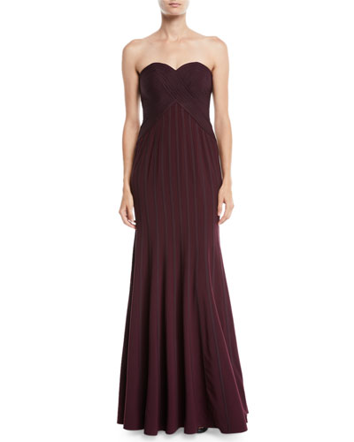 Strapless Flowy Gown w/ Satin Strips