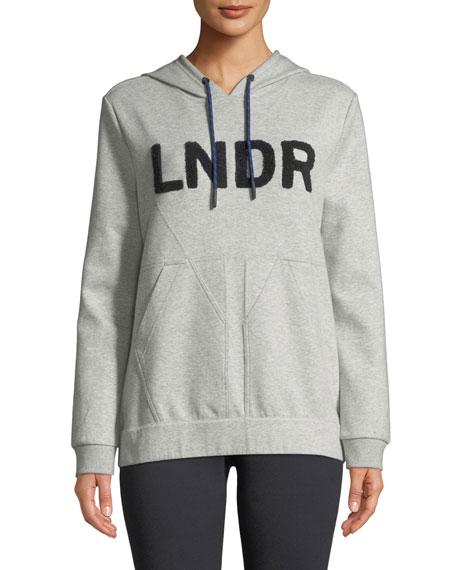 LNDR College Hooded Boucle-Logo Jersey Sweatshirt in Gray