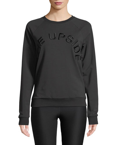 Sid Fleece Black On Black Logo Crewneck Pullover Sweatshirt