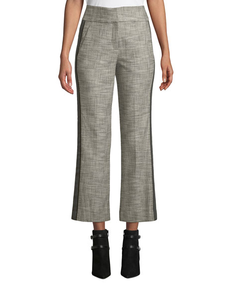 Cormac Plaid Cropped Trousers With Tuxedo Stripes, Grey