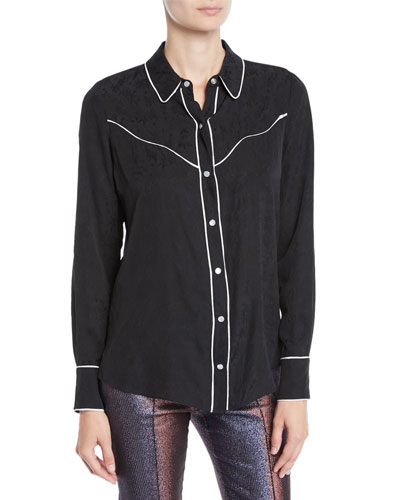 Mayben Jacquard Silk Button-Down Shirt