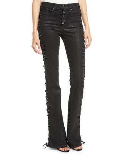 Beverly Lace-Up Skinny Flare-Leg Jeans
