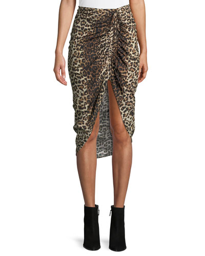 Ari Ruched Leopard-Print High-Low Skirt