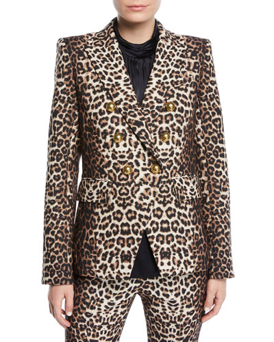 Miller Double-Breasted Leopard-Print Jacket