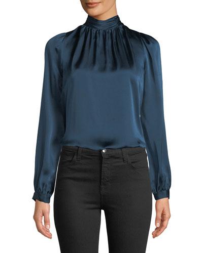 Chilton Shirred Silk Organza High-Neck Top