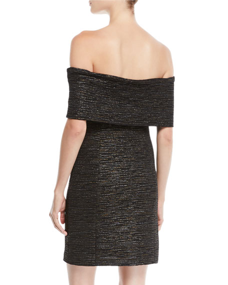 Off-the-Shoulder Fitted Metallic Knit Dress
