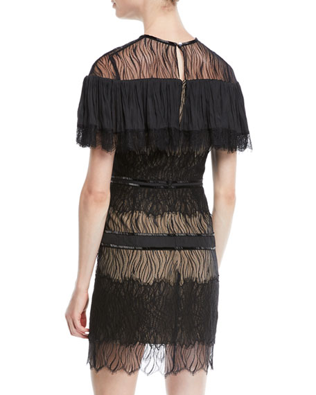 Pleated Lace Mini Dress w/ Beading