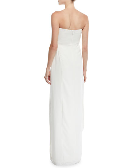 02413ee0ca7 Halston Heritage Strapless Crepe Gown w/ Draped Front