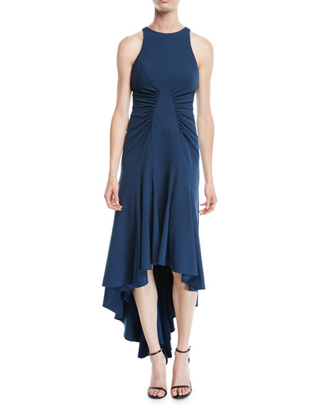 HALSTON HERITAGE High-Low Halter Dress W/ Ruched Details in Teal