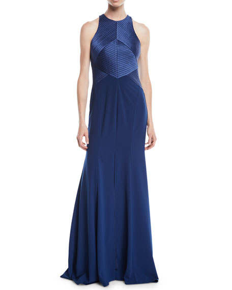 Halter Gown W/ Satin Stripe Bodice in Blue