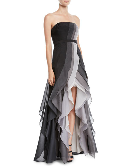 HALSTON HERITAGE Strapless OmbrÉ Tiered Ruffle Gown in Black