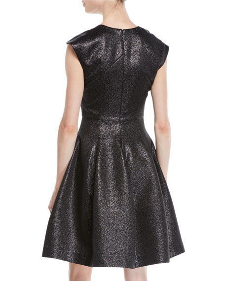 Structured Metallic Cap-Sleeve Dress