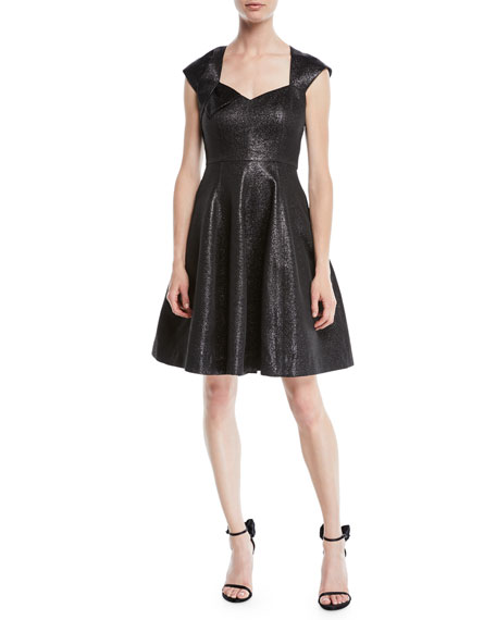 Halston Heritage Structured Metallic Cap-Sleeve Dress