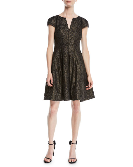 Metallic Lace Cap-Sleeve Cocktail Dress w/ Slit Neck
