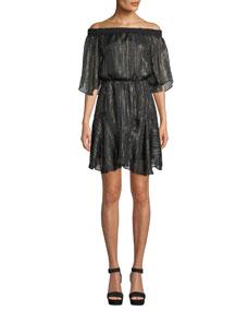 Smocked Off The Shoulder Metallic Chiffon Dress by Halston Heritage