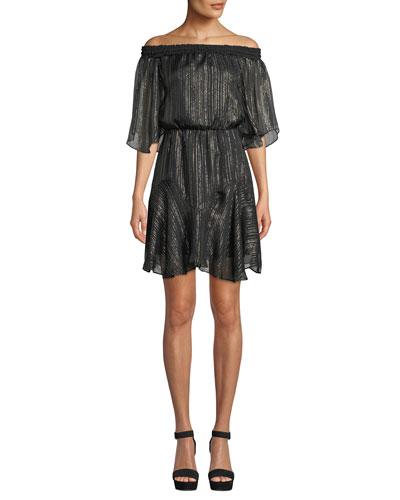 Smocked Off-the-Shoulder Metallic Chiffon Dress
