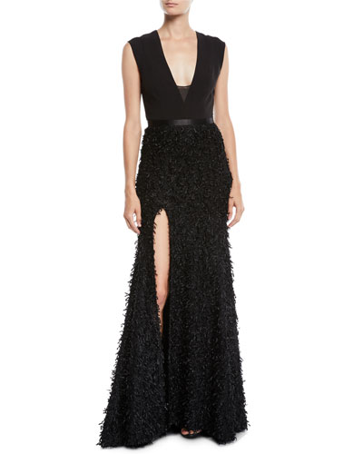 Sleeveless Gown w/ Boucle Feather Skirt