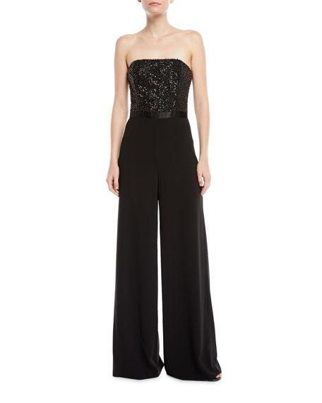 Strapless Flowy Embellished Jumpsuit