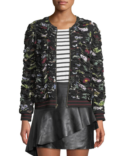 Klarika Shirred Floral Bomber Jacket