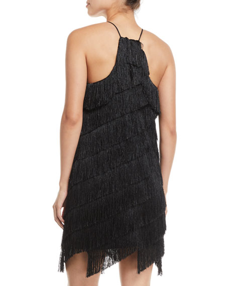 Sleeveless High-Neck Fringe Slip Cocktail Dress