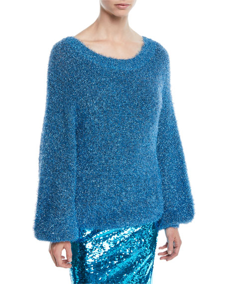 Alice + Olivia Lisha Metallic Textured Sweater, Blue