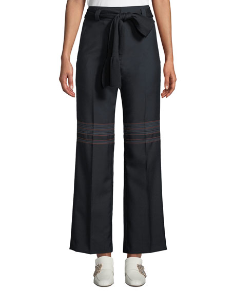 CARVEN BELTED HIGH-WAIST WOOL STRAIGHT-LEG TROUSERS