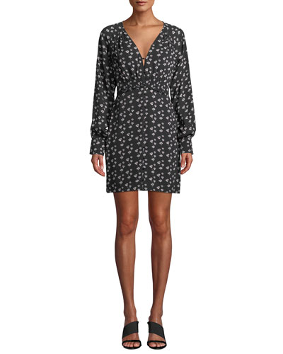 Kris Poppy-Print Silk Long-Sleeve Short Dress