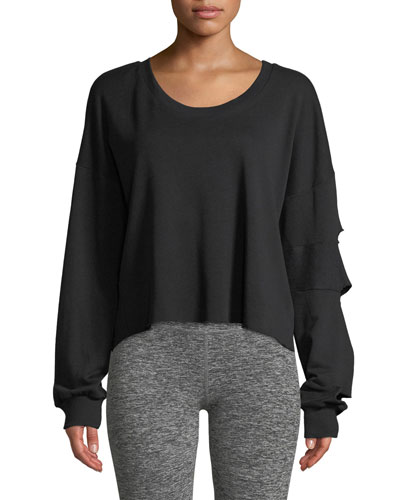 Slashed-Sleeve Cropped Pullover Sweatshirt