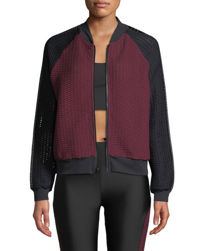 Haiden Blocked Mesh Activewear Bomber Jacket