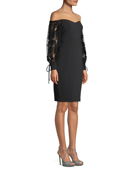 Off-the-Shoulder Dress w/ 3D Embroidered Sleeves
